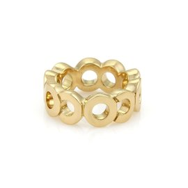 Chanel Coco 18K Yellow Gold Wide Band Ring Size 5.5
