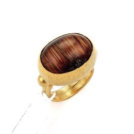 Gurhan Pandora 24K Yellow Gold & Cabochon Rutilated Quartz Ring Size 6.75