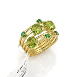 Ippolita Lollipop Constellation 18K Yellow Gold with Peridot & Tsavorite Ring Size 7