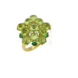 Ippolita Lollipop 18K Yellow Gold Peridot & Tsavorite Ring Size 7