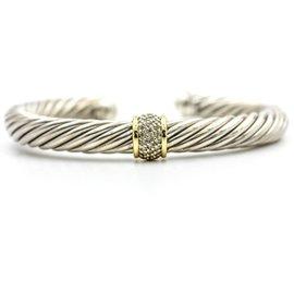 David Yurman Cable Classics 18K Yellow Gold 925 Sterling Silver Diamonds Bracelet