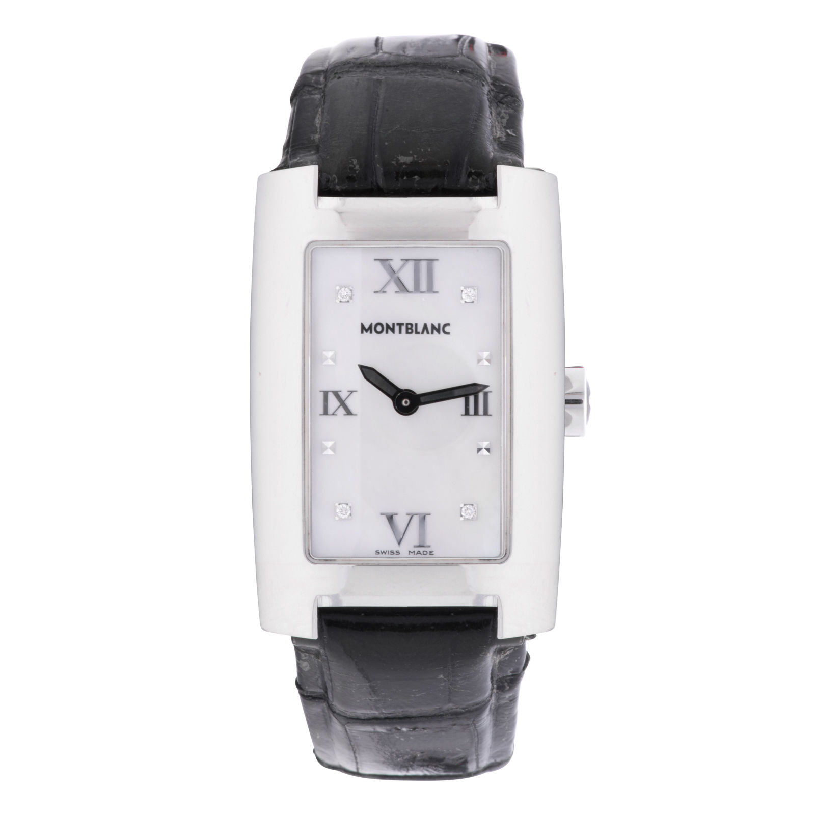 """Image of """"Montblanc 7077 Stainless Steel & Leather Strap Mother Of Pearl Diamond"""""""