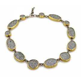 Gurhan Druzy Amphorous Galaxy 925 Sterling Silver 24K Yellow Gold Necklace