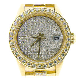 Rolex Datejust President 18K Yellow Gold Custom Diamond Dial, Bezel & Band 26mm Womens Watch