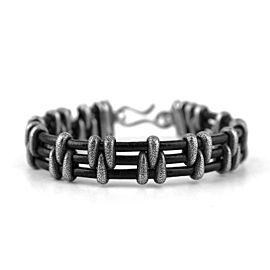 David Yurman 925 Sterling Silver Stippled Stations on Leather Bracelet