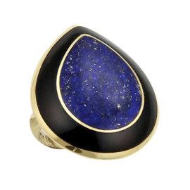 Ippolita Rock Candy 18K Yellow Gold Teardrop Lapis & Onyx Ring Size 7