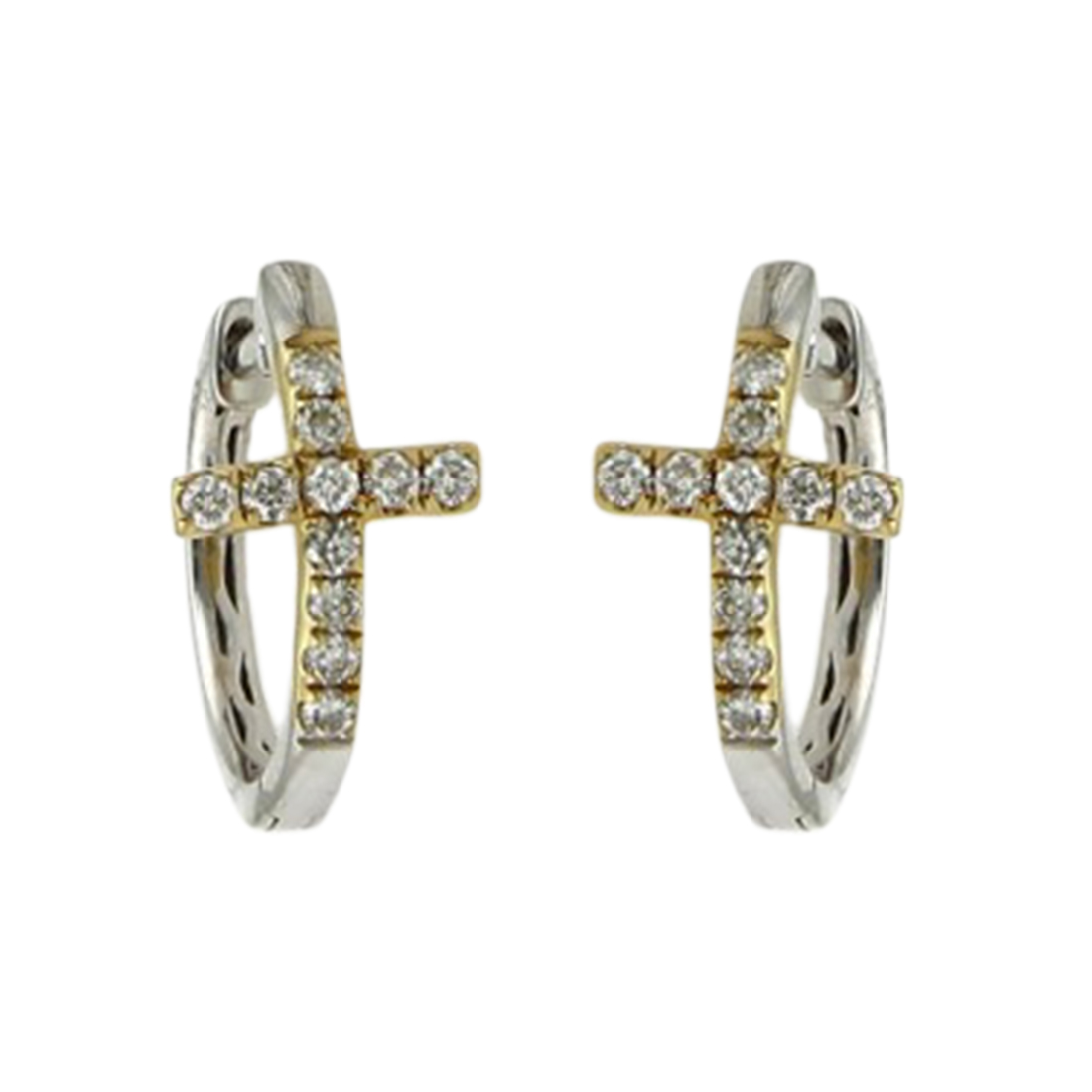 "Image of ""Odelia 14K Yellow and White Gold with 0.36ct Diamond Cross Small Hoop"""