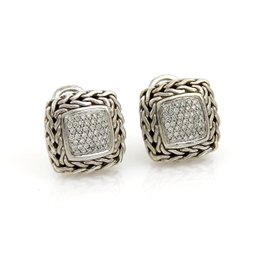 John Hardy Classic 925 Sterling Silver 0.53ct. Diamond Chain Square Earrings