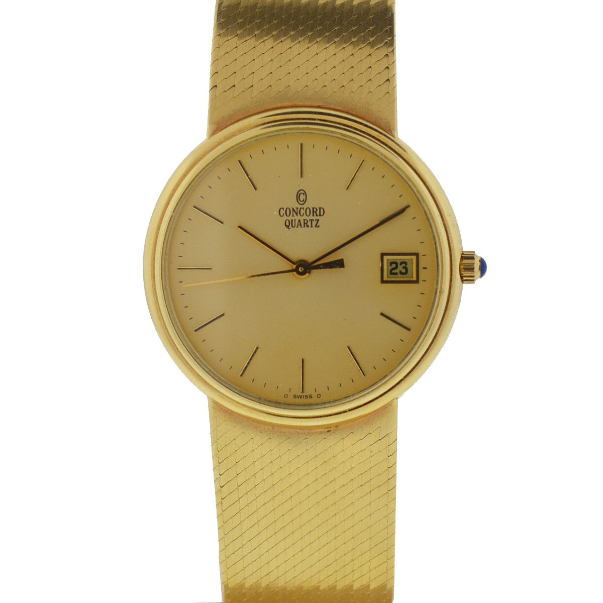 "Image of ""Concord 14K Yellow Gold Quartz Vintage 33mm Mens Watch"""