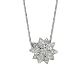 Van Cleef & Arpels 18K White Gold Lotus Diamond Pendant Necklace