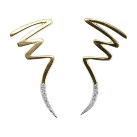 Tiffany & Co. 18K Yellow Gold with Platinum and Diamond Paloma Picasso Scribble Earrings
