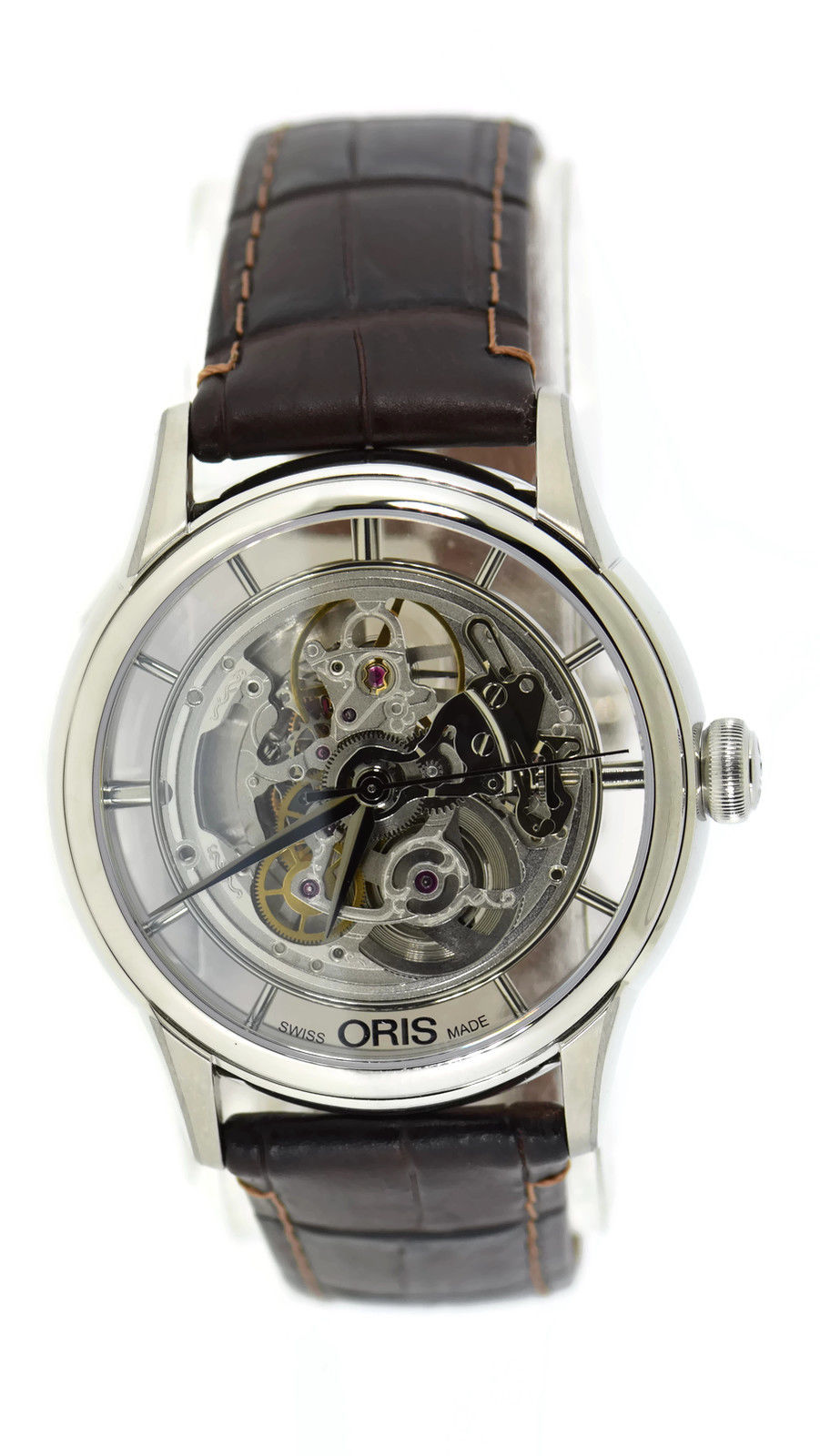 "Image of ""Oris Artelier 7684 Skeleton Stainless Steel 40.5mm Mens Watch"""