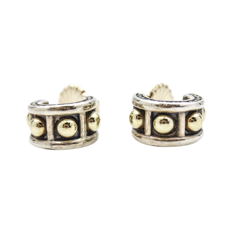 "Image of ""Lagos Caviar Small Hoop Huggie 18k Gold and Sterling Silver Earrings"""