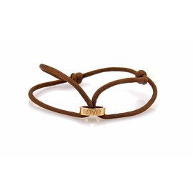 Cartier Love Mini 18K Rose Gold & Brown Cord Ring Bracelet
