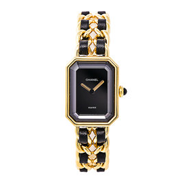Chanel Premiere G20M Gold Plated Black Dial 20mm Womens Watch