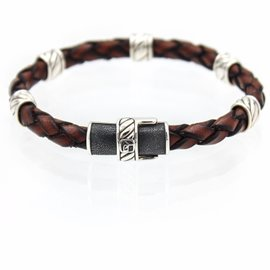 David Yurman Cable Classic Leather Station Brown Bracelet