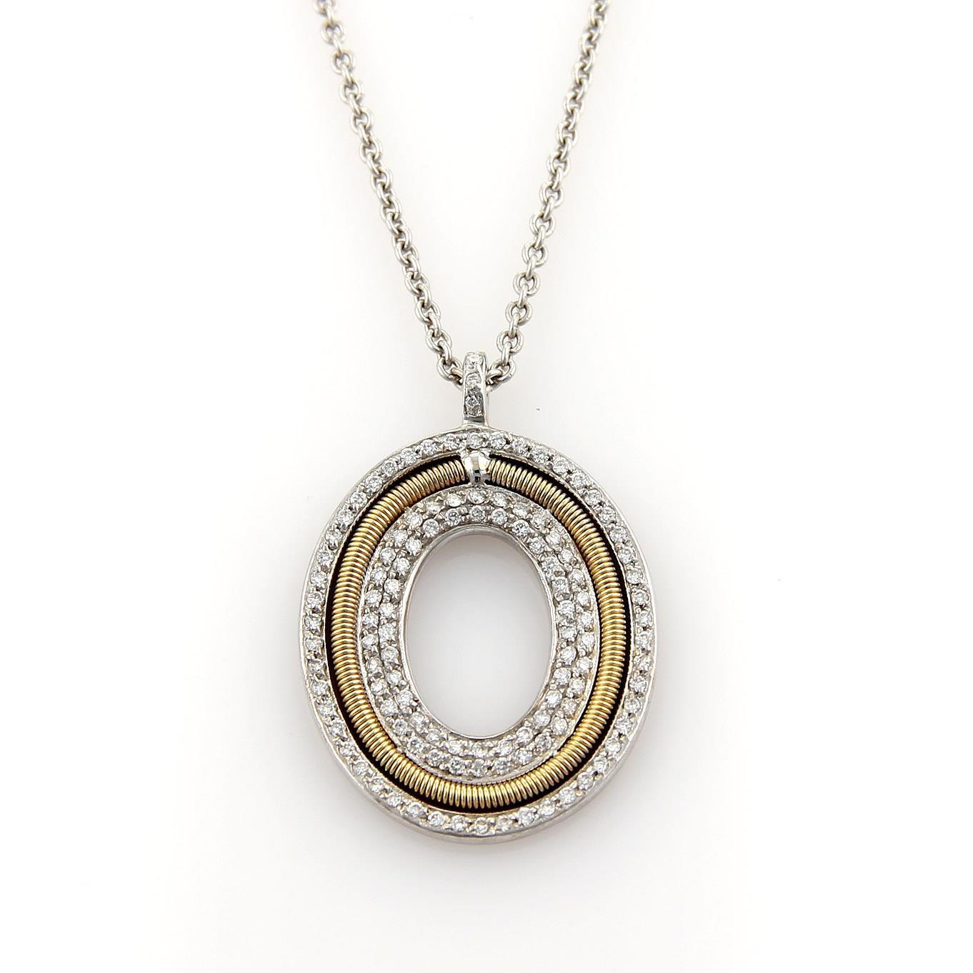 "Image of ""Marco Bicego 18K Two Tone Gold Diamonds Oval Pendant Necklace"""