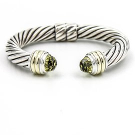 David Yurman Cable Classics Cuff Sterling Silver and 14k Yellow Gold Prasiolite Bracelet