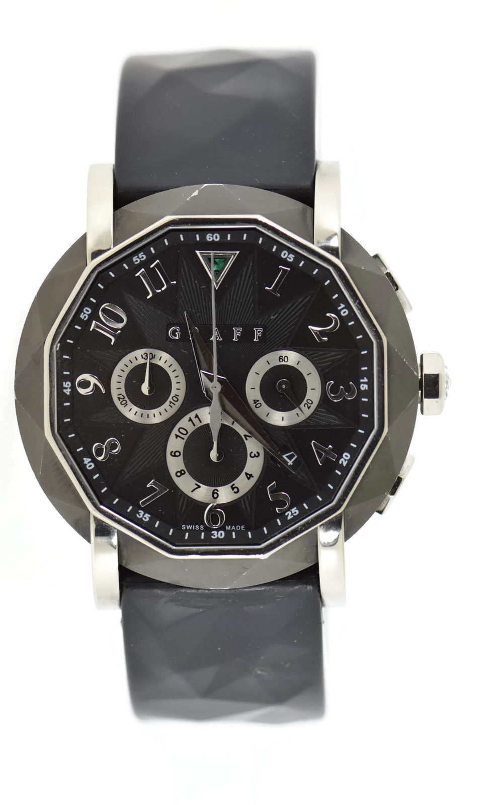 "Image of ""Graff Cg45Dlcwg Black DLC 18K White Gold & Rubber Automatic 45mm Mens"""