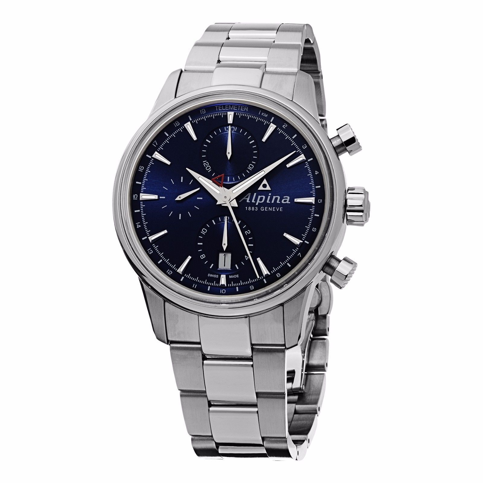 "Image of ""Alpina Al-750N4E6B Stainless Steel Blue Dial Automatic 41.5mm Mens"""