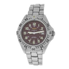 Breitling Colt A57035 Stainless Steel Red Burgundy Date Quartz 38mm Unisex Watch
