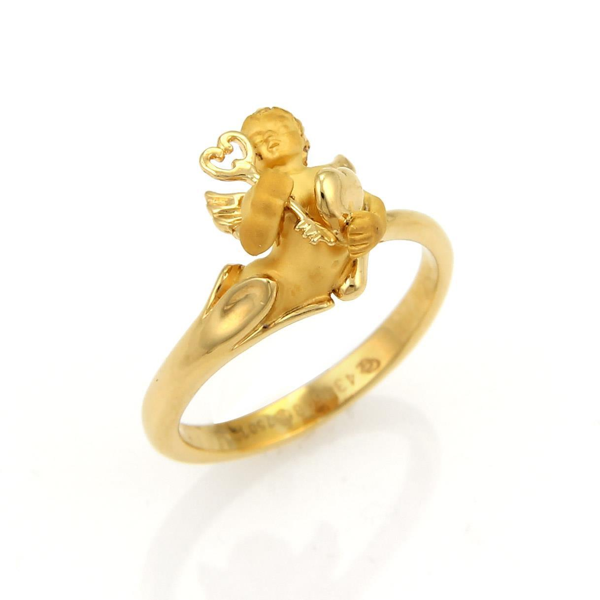 "Image of ""Carrera y Carrera 18K Yellow Gold 3D Cherub Ring Size 5.75"""