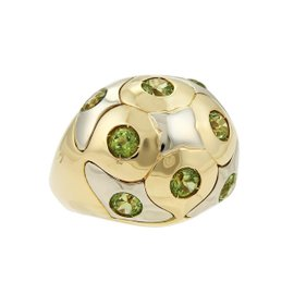 Bulgari 18K Yellow and White Gold with Peridot Dome Ring Size 8