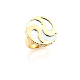 Bulgari 18K Yellow Gold and Stainless Steel with Mother Of Pearl Spinning Optical Ring Size 6