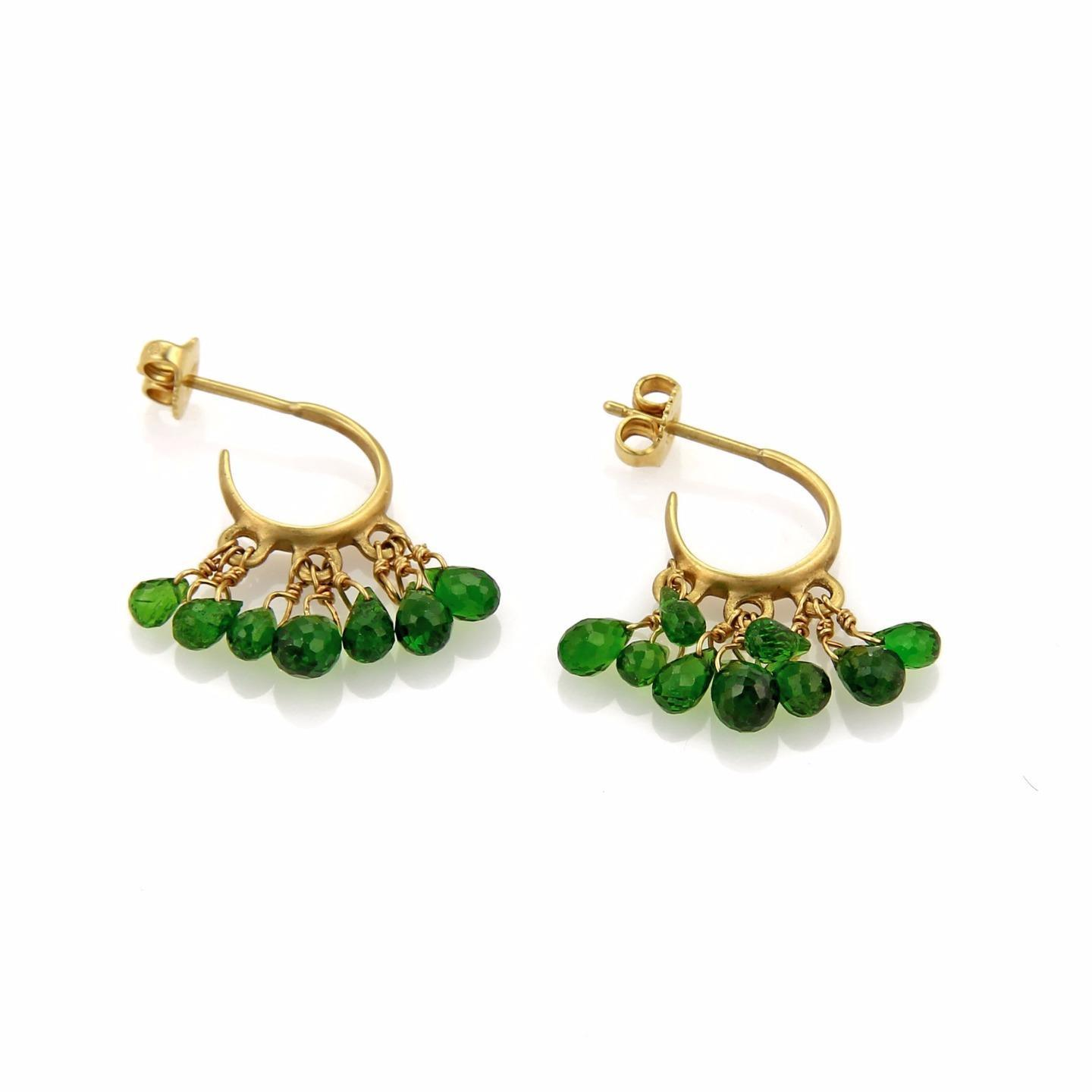 "Image of ""18K Yellow Gold with Tsavorite Multi Bead Hook Dangle Earrings"""
