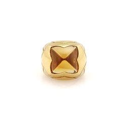 Bulgari 18K Yellow Gold with Citrine Pyramid Ring Size 6