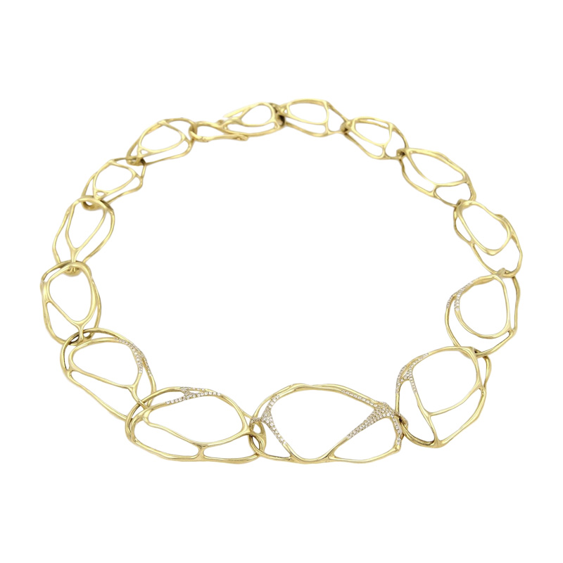 "Image of ""Ippolita Drizzle 18K Yellow Gold with 1.65ct Diamond Link Necklace"""