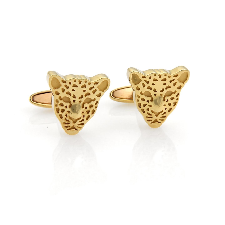 "Image of ""Carrera y Carrera 18K Yellow Gold Cheetah Stud Cufflinks"""