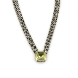 David Yurman Albion 925 Sterling Silver & 18K Yellow Gold Citrine Triple Chain Necklace