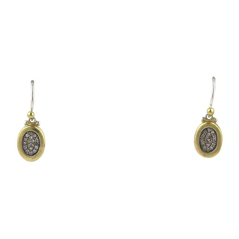"Image of ""Gurhan 925 Sterling Silver & 24K Gold Overlay Diamond Oval Hook Dangle"""