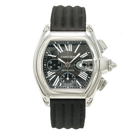 Cartier Roadster 2618 Stainless Steel & Leather Black Dial Automatic 42mm Mens Watch