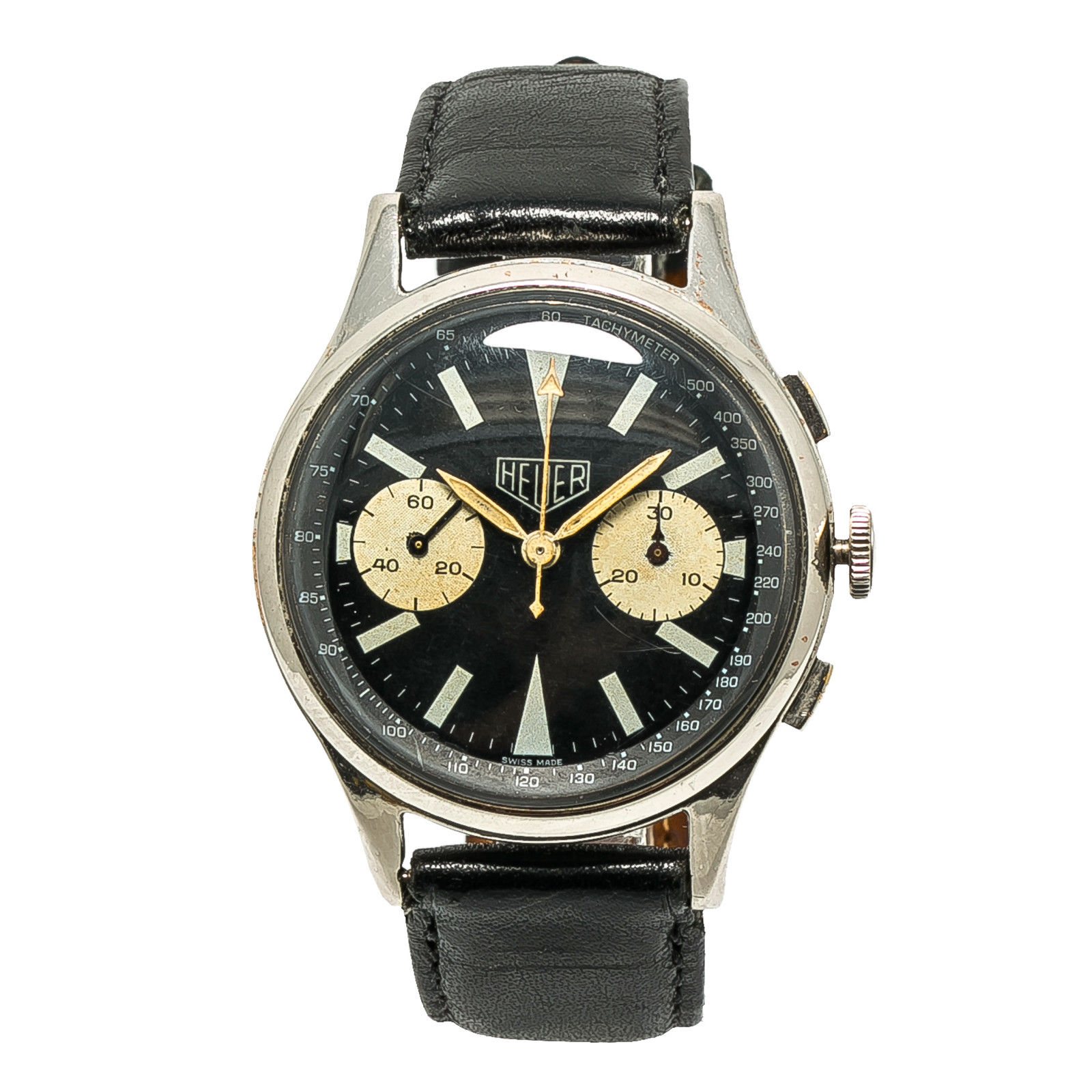 "Image of ""Heuer Big Eyes Stainless Steel & Leather Black Dial Automatic Vintage"""