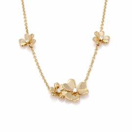 Van Cleef & Arpels Frivole 18K Yellow Gold Diamond 9 Flower Necklace