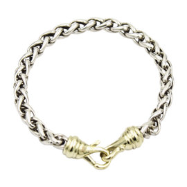 David Yurman Sterling Silver and 14K Yellow Gold Wheat Chain Bracelet