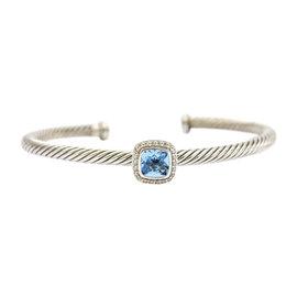 David Yurman Sterling Silver with Blue Topaz and Diamonds Noblesse Cuff Bracelet 7