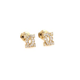 Cartier 18K Yellow Gold with Diamond Double C Stud Earrings