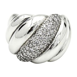 David Yurman Sterling Silver with 0.78ct. Diamonds Hampton Cable Ring Size 6