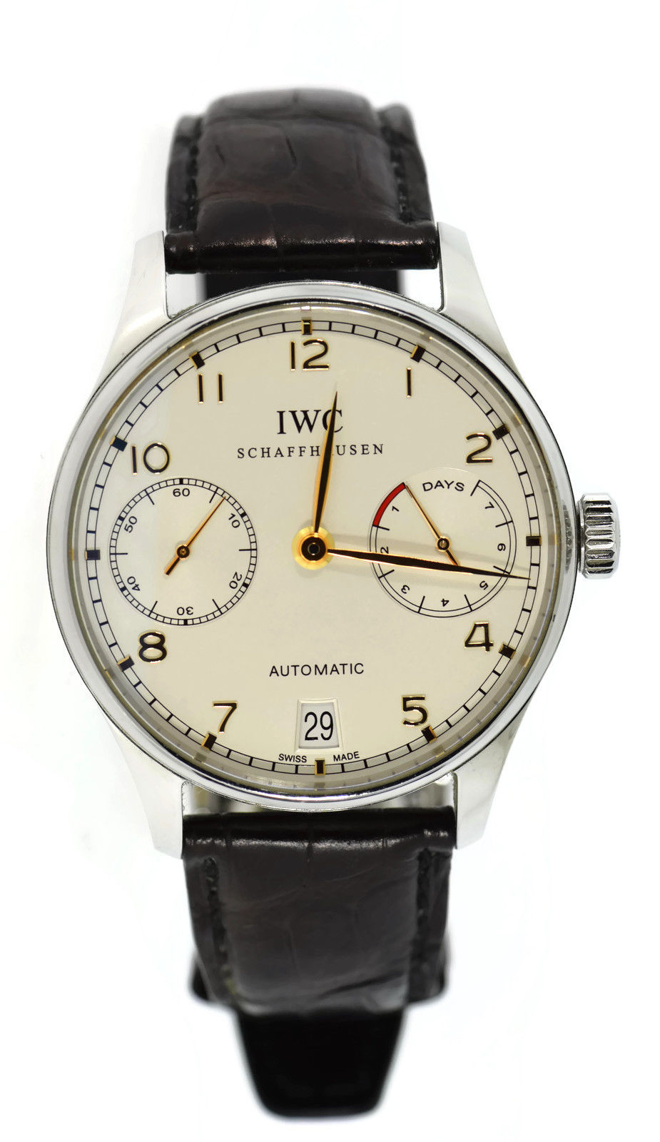 """Image of """"IWC Portuguese 7 Day Iw500114 Stainless Steel & Leather Automatic"""""""