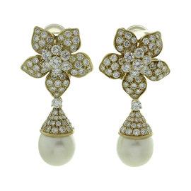 Van Cleef & Arpels 18K Yellow Gold 7.00ct Diamond & South Sea Pearl Flower Earrings