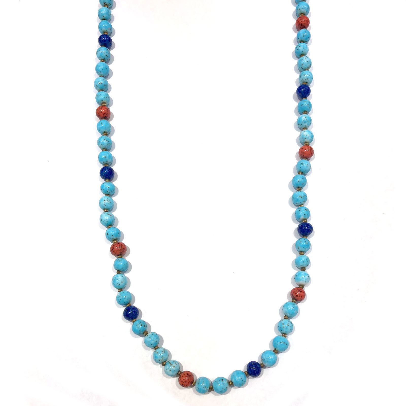 "Image of ""Gold Tone Hardware with Blue Turquoise & Coral Beads Single Double"""
