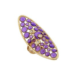 Roberto Coin 18K Yellow Gold with Diamond, Purple Enamel & Ruby Ring Size 6