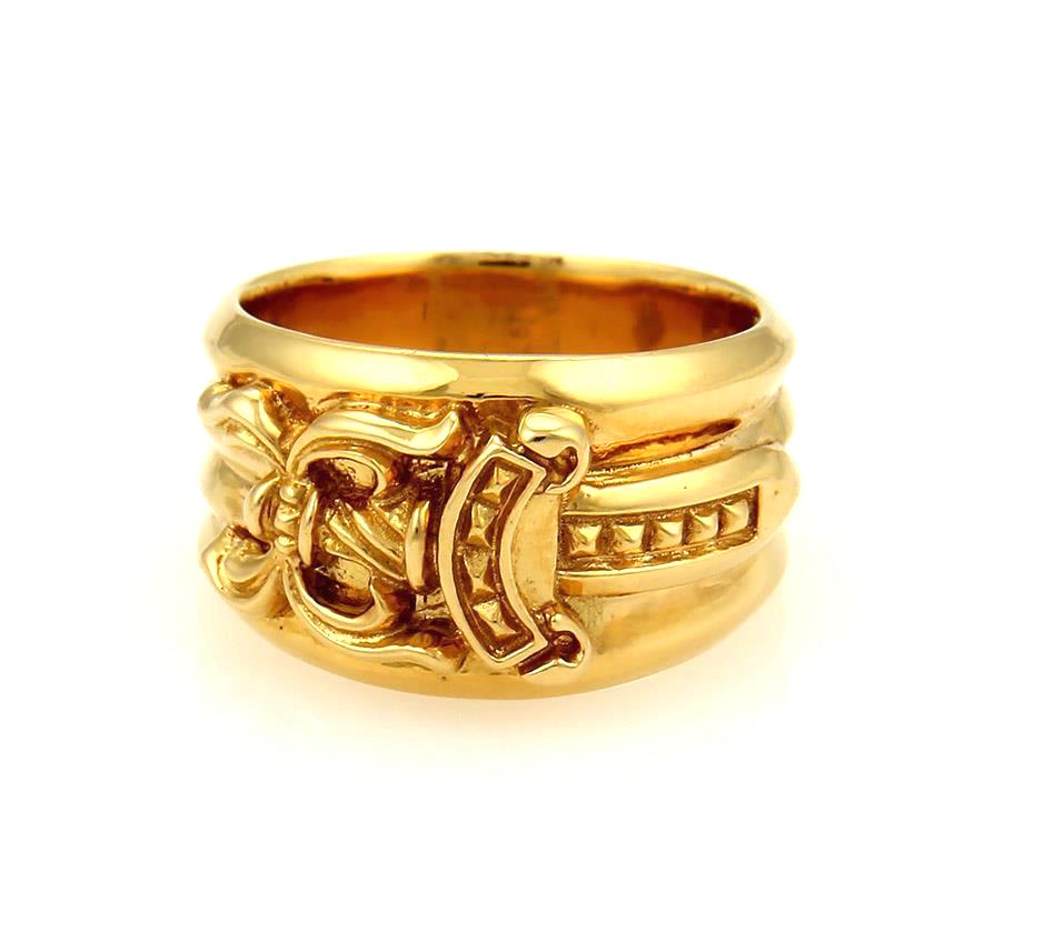 "Image of ""Chrome Hearts 22K Yellow Gold Dagger Ring Size 10"""