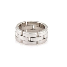 Cartier Maillon Panthere 18K White Gold 3 Row Band Ring Size 5