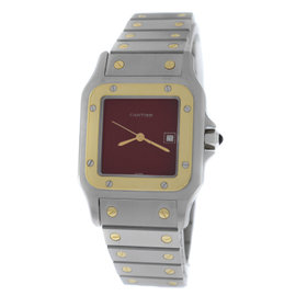 Cartier Santos Galbee Stainless Steel & 18K Yellow Gold Burgundy Dial Automatic 29mm Unisex Watch