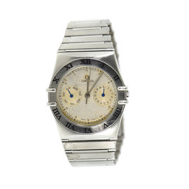 Omega Constellation Day Date Stainless Steel Quartz 34mm Mens Watch
