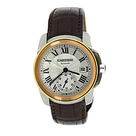 Cartier Calibre W2CA0002 18K Rose Gold/Stainless Steel & Leather Automatic 38mm Mens Watch